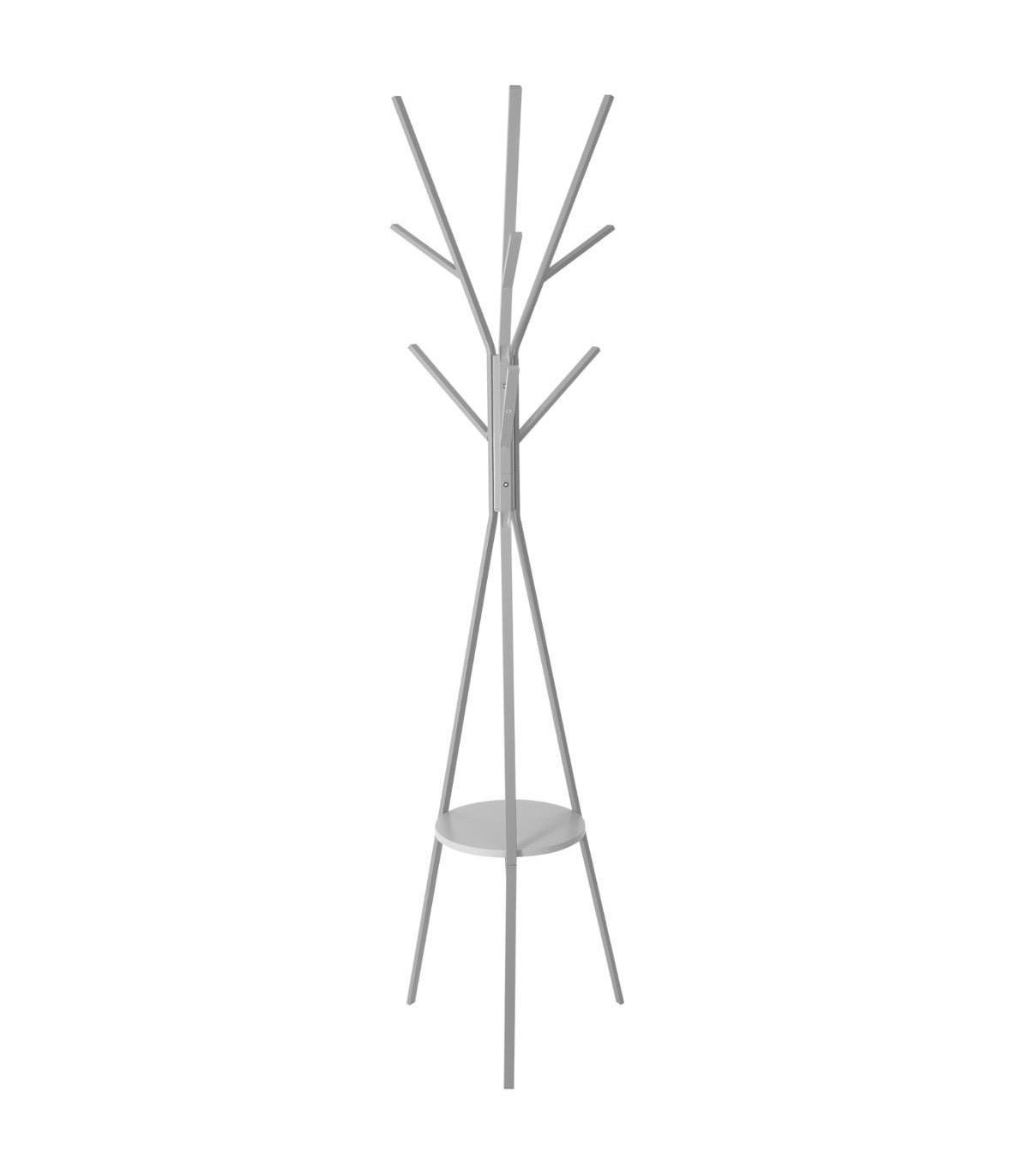 Porte-manteaux en bois et métal 9 crochets GRIS