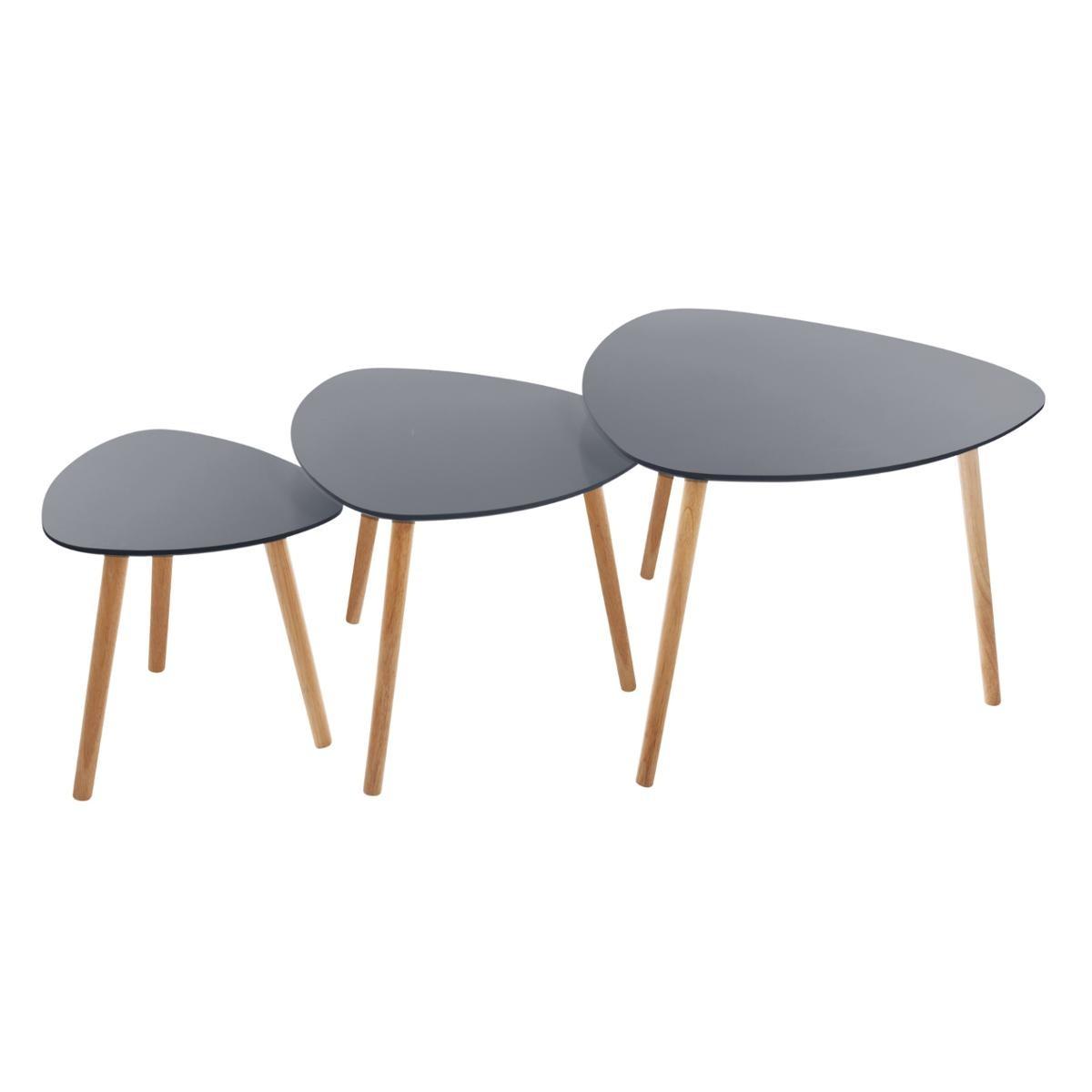 LOT DE 3 TABLES CAFÉ MILEO GRIS