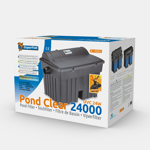 SuperFish Kit de filtration Pond Clear 24000 + UVC 24W + Pompe 12000l/h