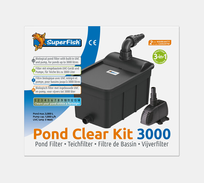 SuperFish Kit de filtration Pond Clear 3000 + UVC 5W + Pompe 1000l/h
