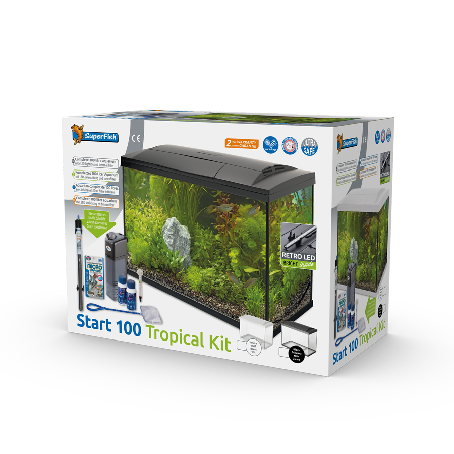 SuperFish Aquarium Start 100 Tropical Kit - Noir