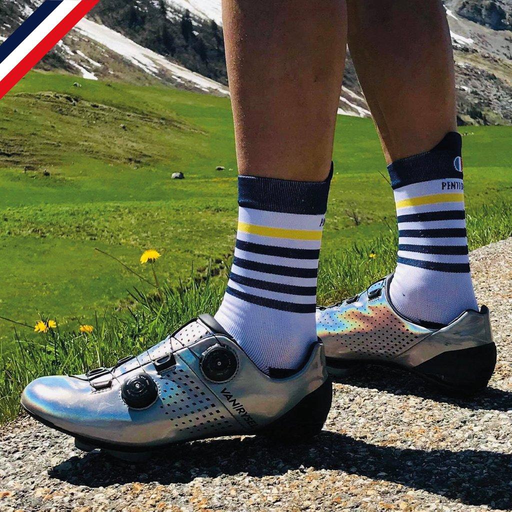Chaussettes de cyclisme : Marinière jaune