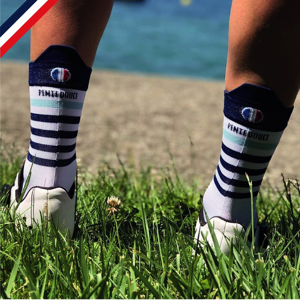 Chaussettes de cyclisme : Marinière bleue