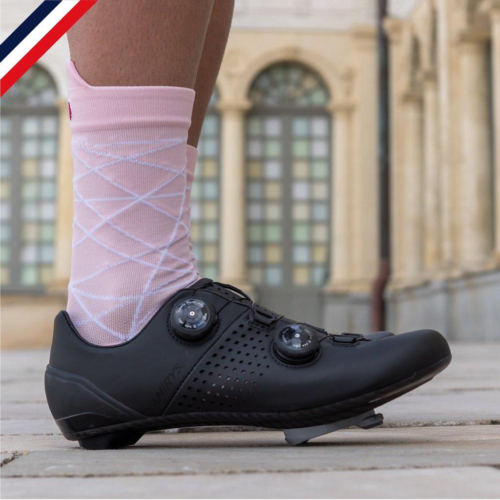 Chaussettes de cyclisme : Rose poudrée