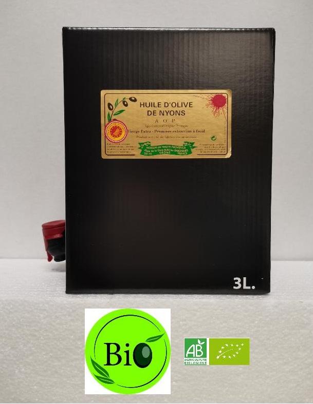Huile d\'olive AOP Nyons Biologique 3 L