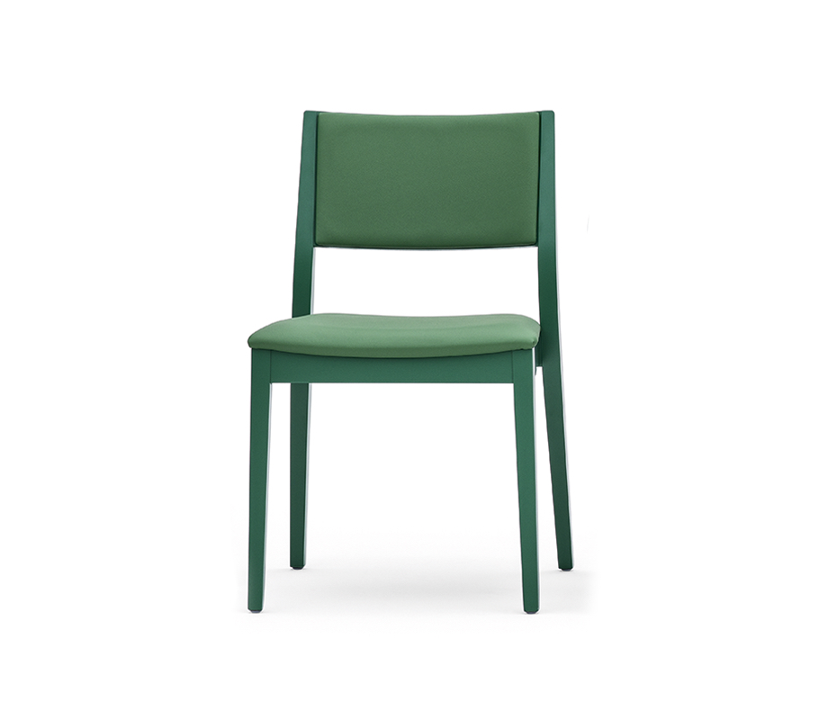 Chaise design empilable tissu et bois - Sintesi Montbel - Lot de 2