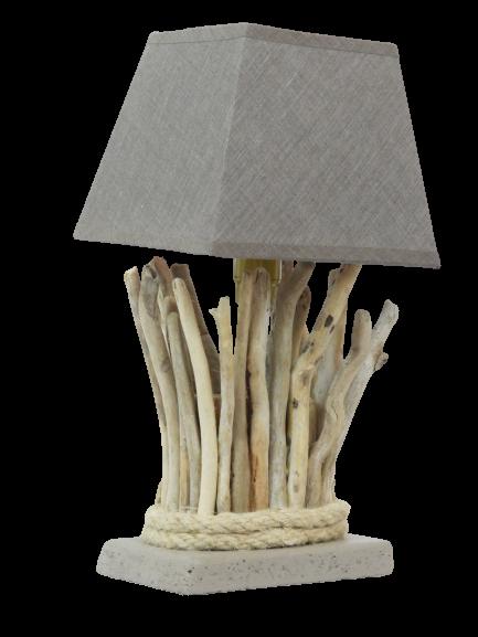 lampe de chevet en bois flotté