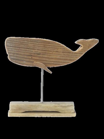 baleine en bois flotté sur socle