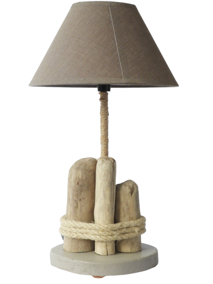 lampe médian en bois flotté
