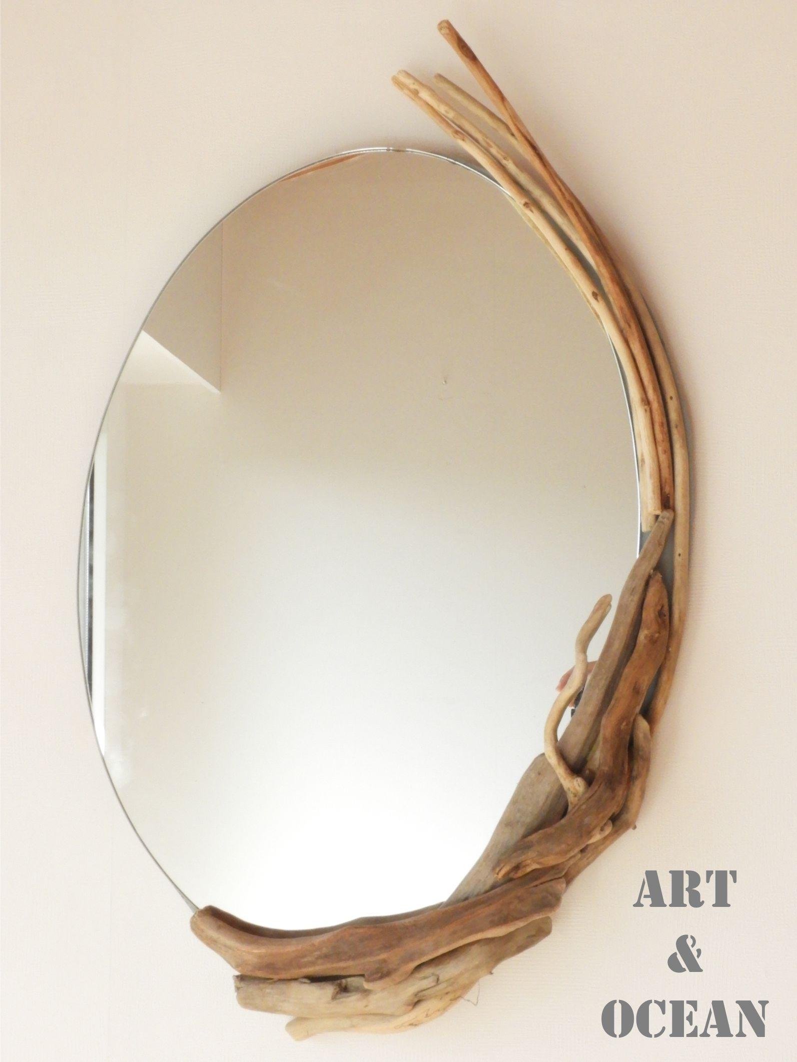 miroir ovale en bois flotté