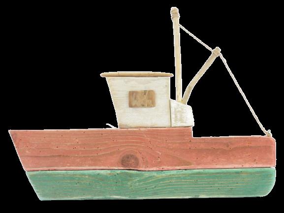 déco. en bois flotté bateau de pêche
