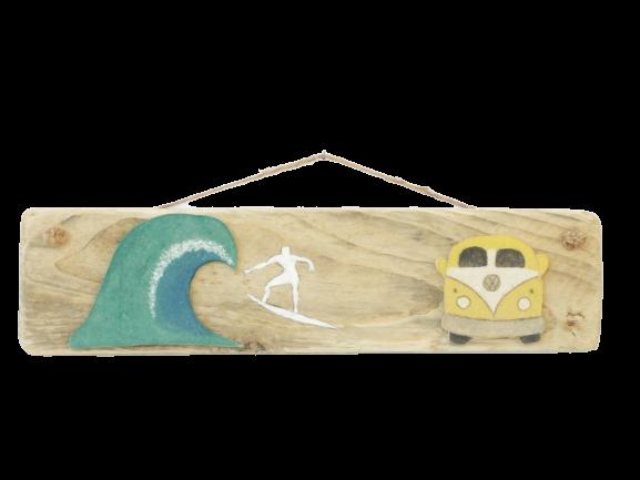 déco. en bois flotté surf