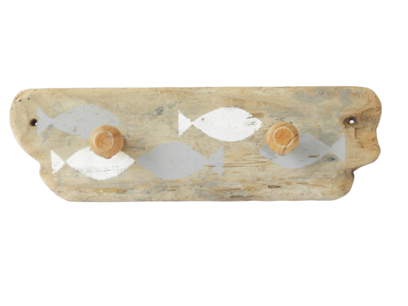 porte-serviettes en bois flotté poissons