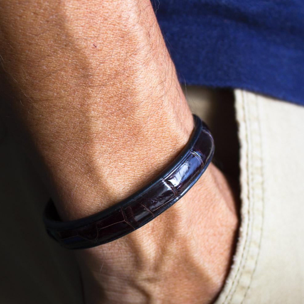 Bracelet Croco Marron Brillant