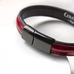 Crivellaro-Bracelets-croco-rouge-fermoir-noir