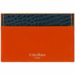 Crivellaro-portes-cartes-SLIM-Orange-Croco-Bleu-1