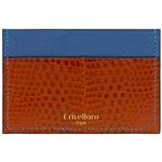 Crivellaro-portes-cartes-SLIM-Lezard-Marron-bleu-1