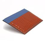 Crivellaro-portes-cartes-SLIM-Lezard-Marron-bleu-2