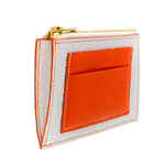 Crivellaro Porte monnaie bubble blanc cuir orange