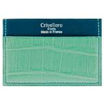 Crivellaro Porte carte croco emeraude vert cuir bleu