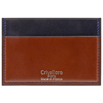 Crivellaro-portes-cartes-SLIM-vegetal-Marron-Bleu-Marine-1