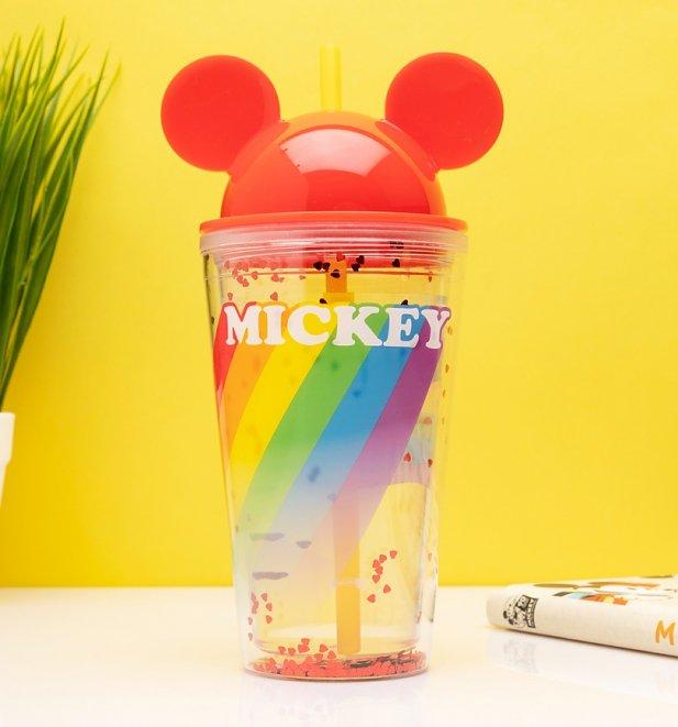 Disney - Gobelet avec paille Mickey Rainbow