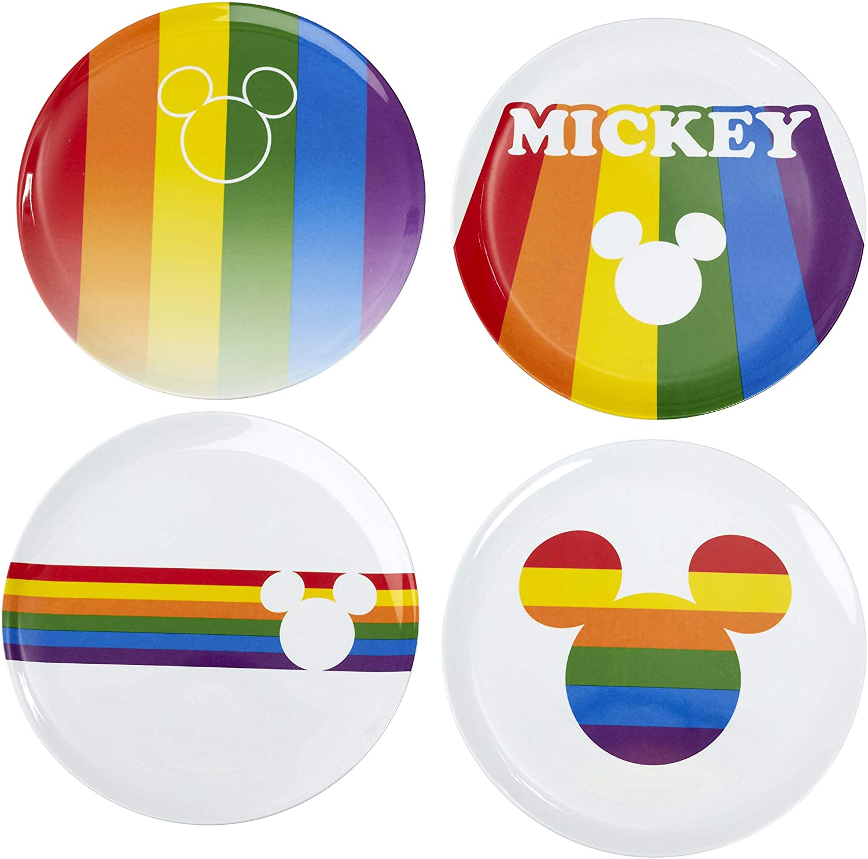 Disney - Pack 4 assiettes en mélamine Mickey Rainbow