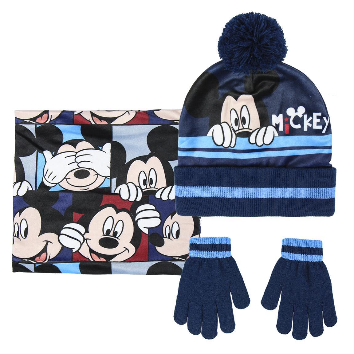 Ensemble 3 pièces Mickey - Bonnet, Gants et Tour de cou