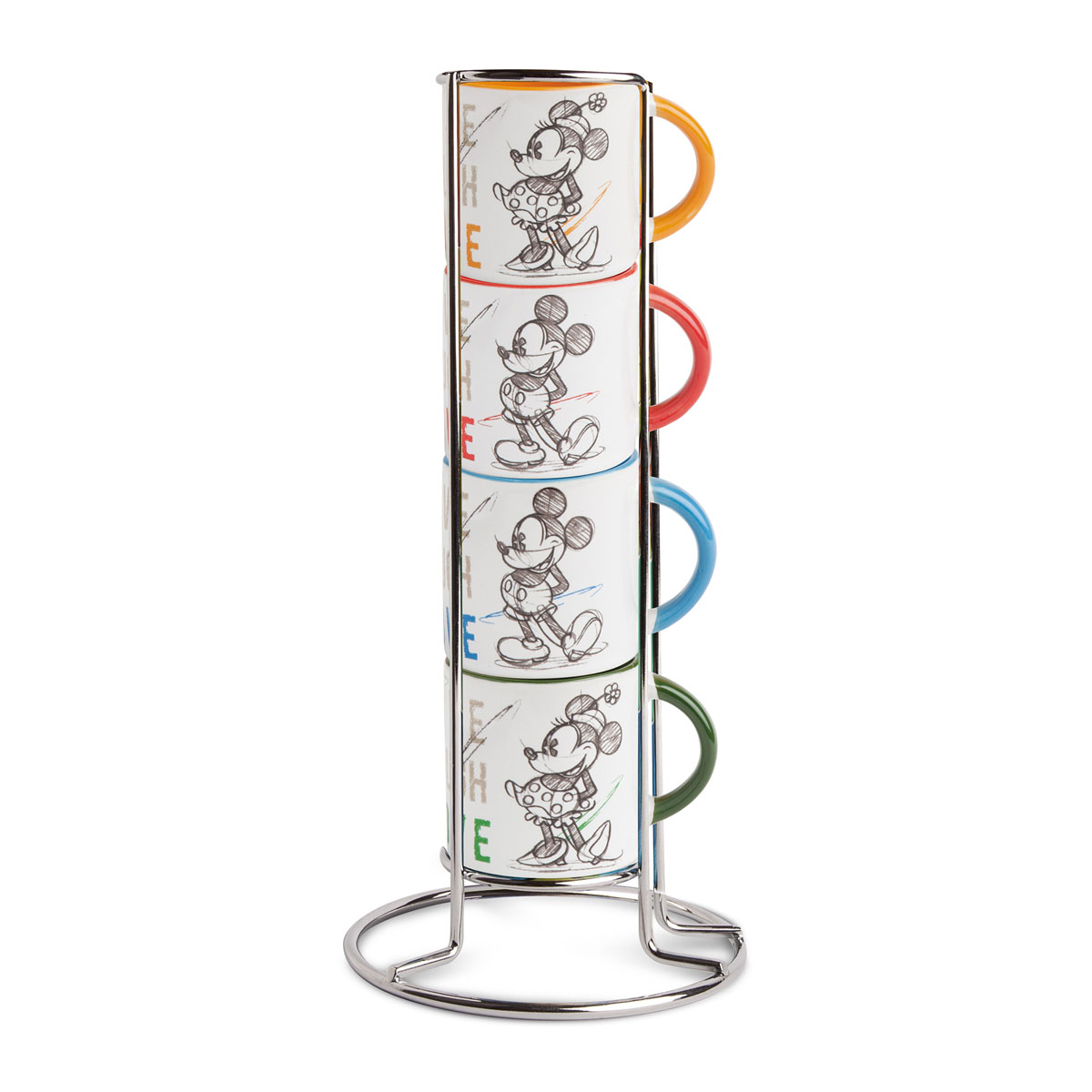 Disney - Set de 4 mugs empilable + Rack Mickey Love