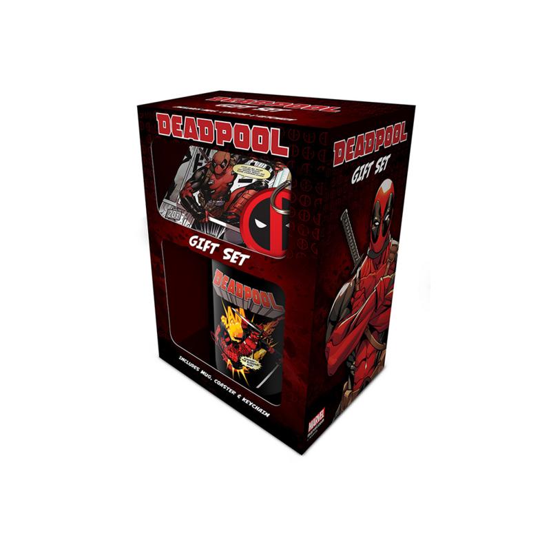 Marvel - Coffret cadeau Deadpool - Mug, Porte clé et dessous de verre