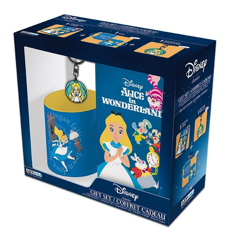Coffret Cadeau Mug Porte clé Cahier - Alice au pays des Merveilles
