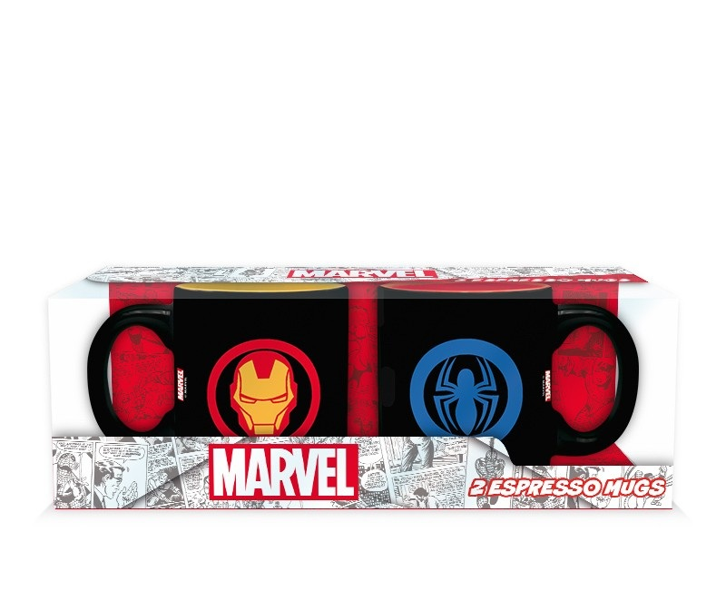 Marvel - Set 2 mugs espresso Iron Man & Spider-Man