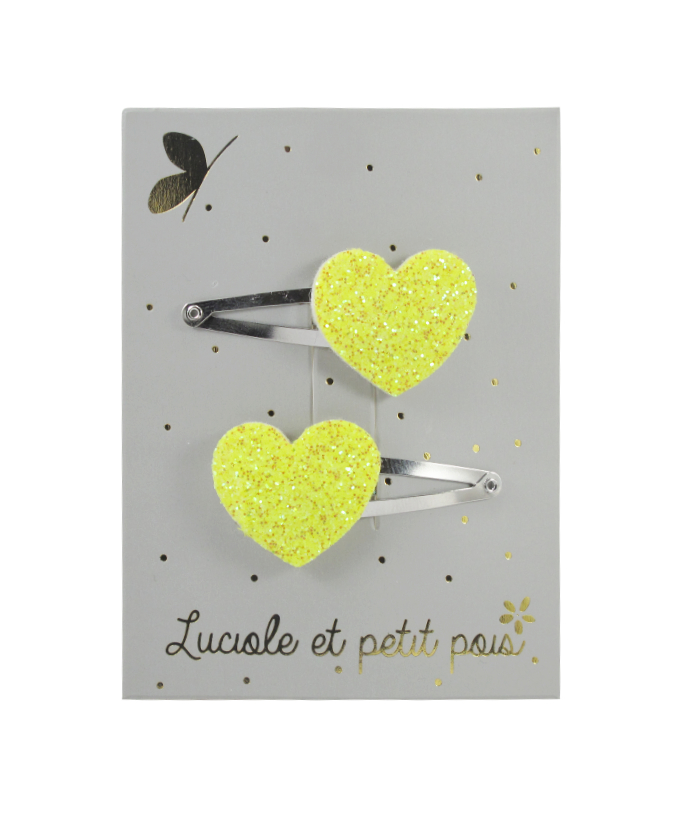 Barrette mini coeur jaune paillette