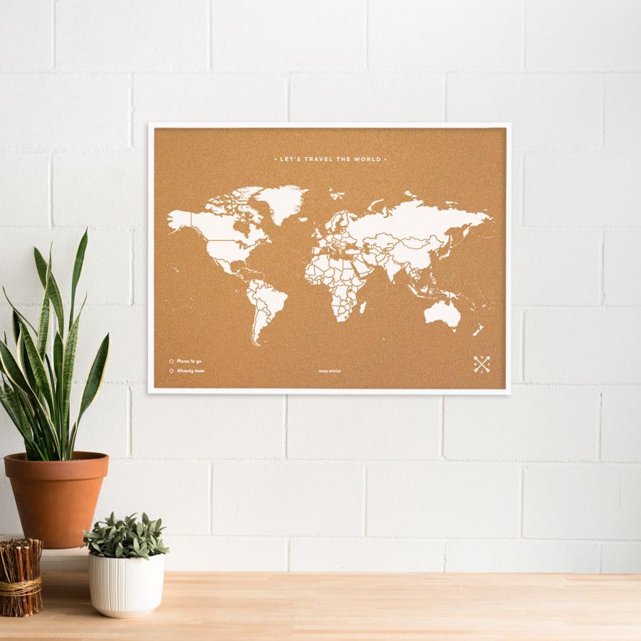 Woody Map Blanc avec cadre