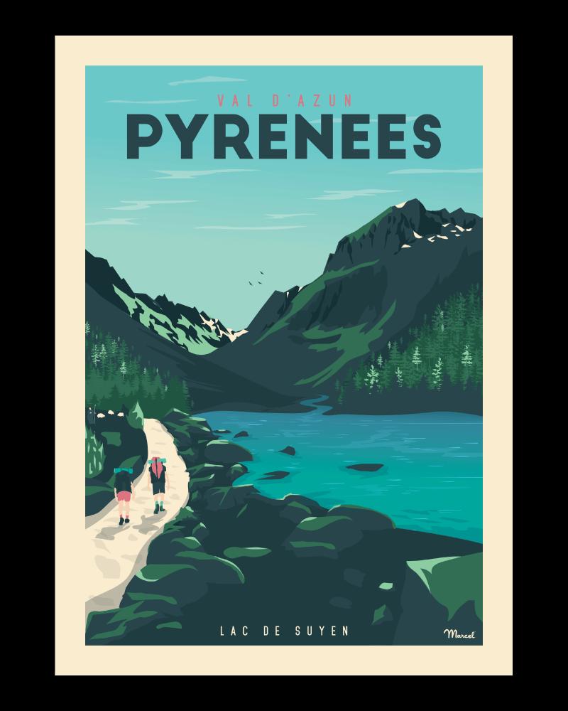 Affiche Pyrénées Lac de Suyen