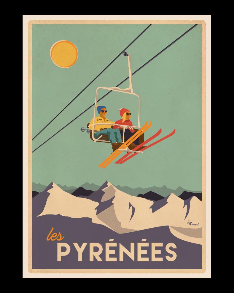 Affiche Pyrénées  Le Télésiège