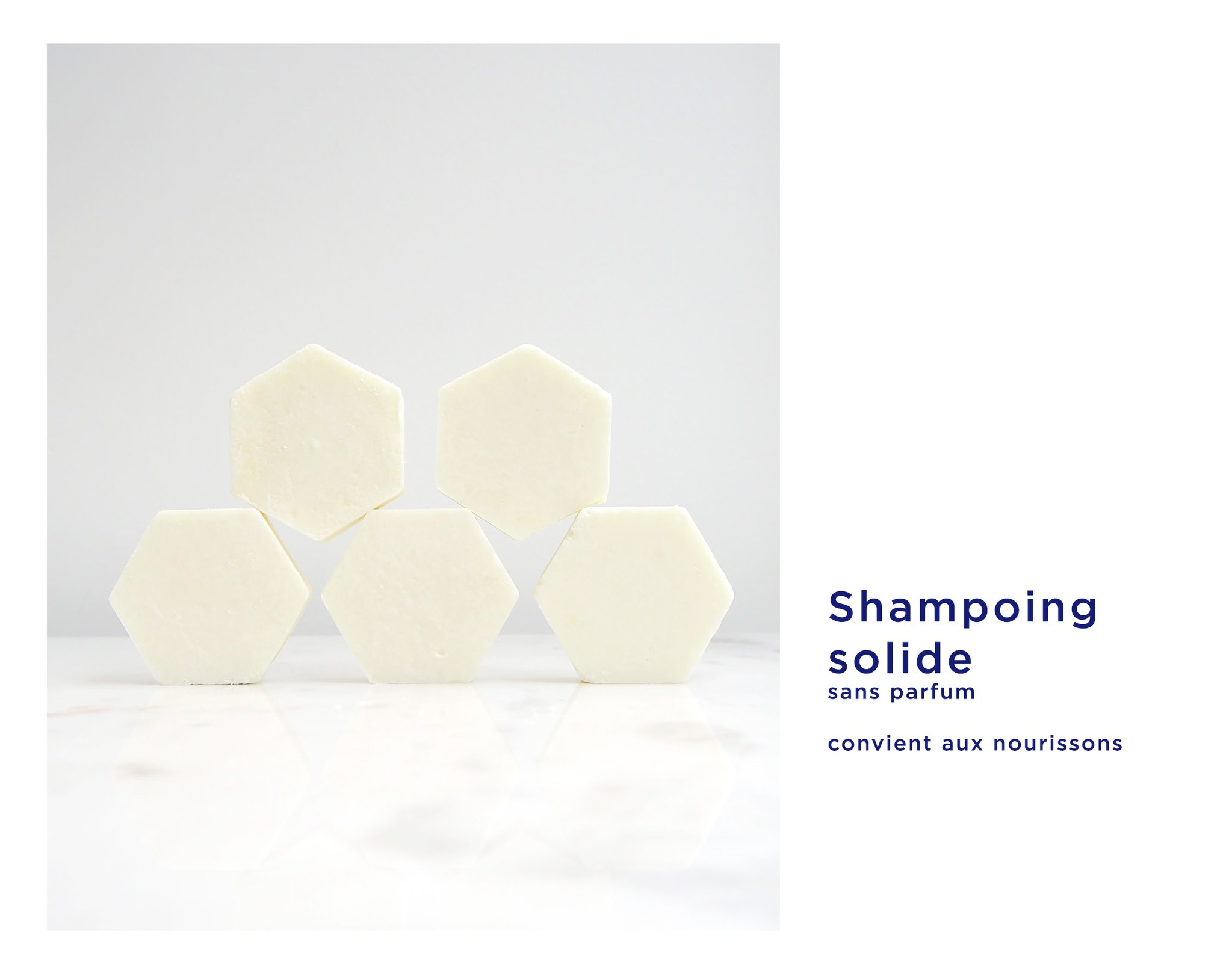 Shampoing solide blanc