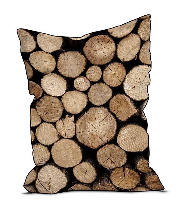 Pouf rondins de bois