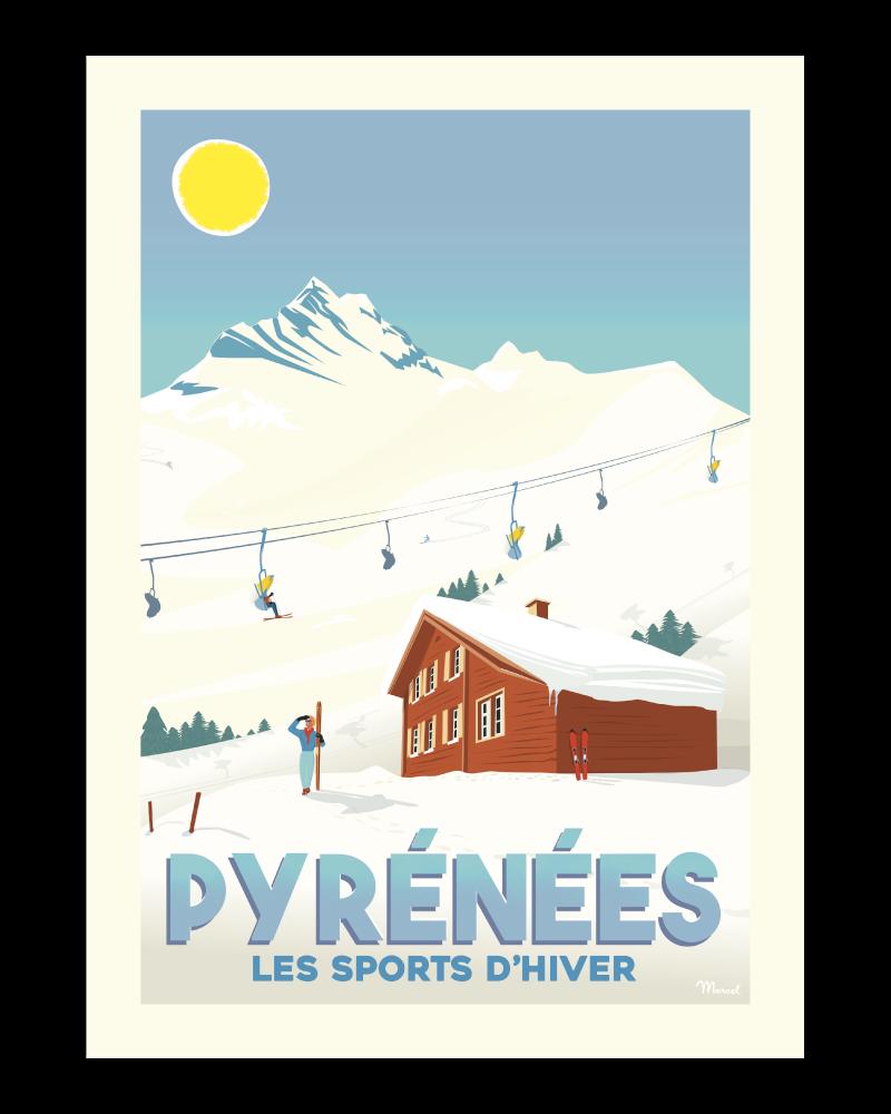 Affiche Pyrénées Les sports d\'hivers
