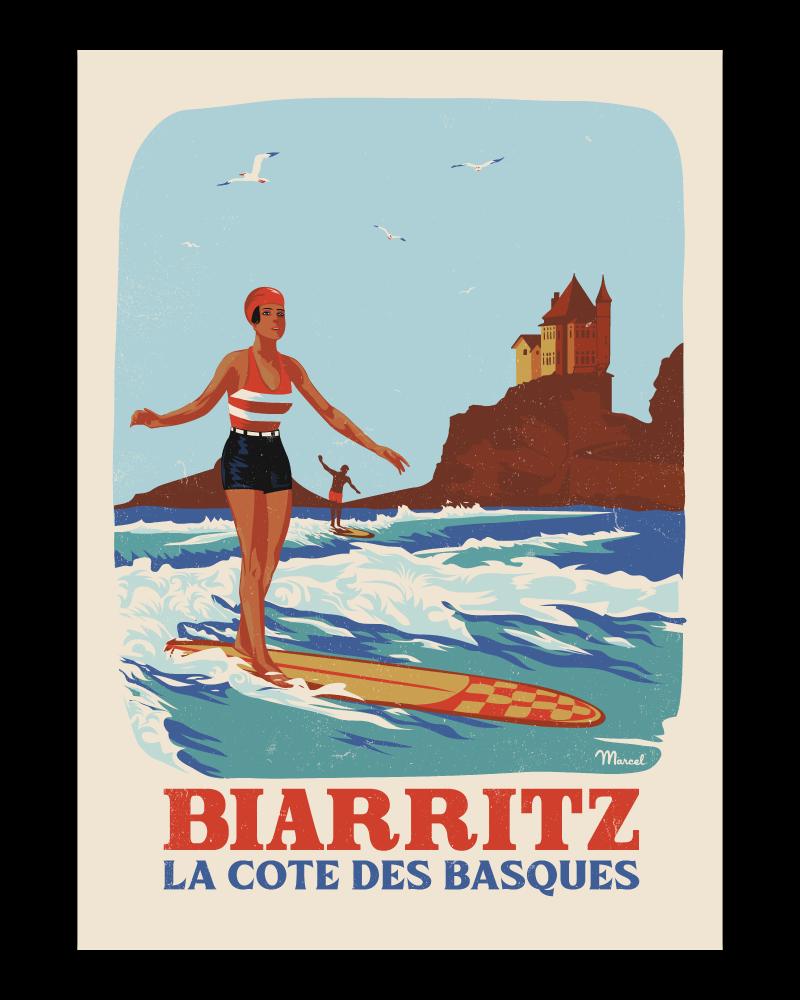 Affiche Biarritz La côte des Basques