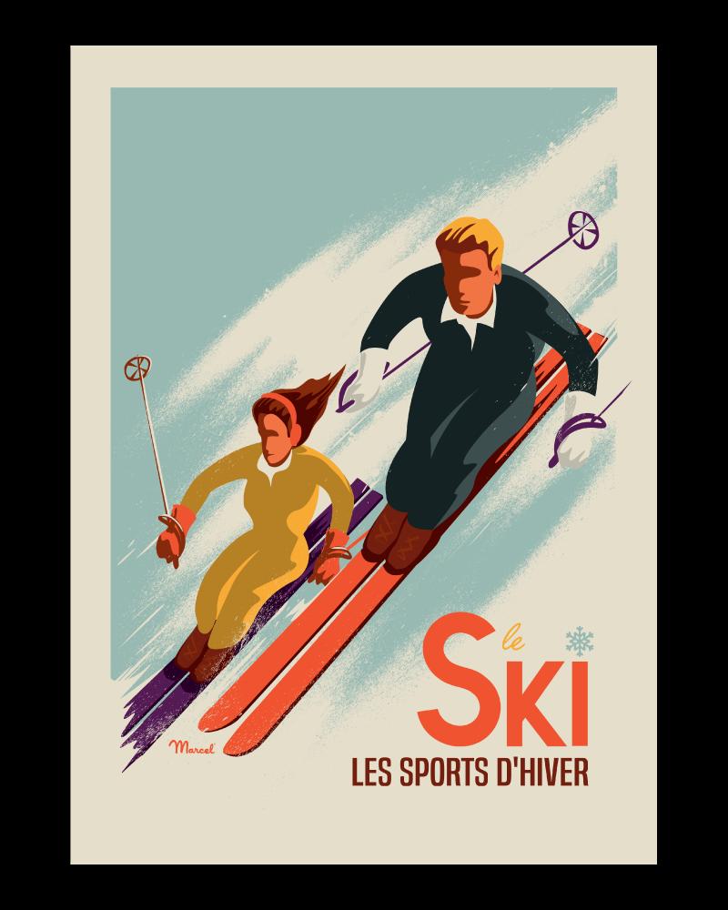 Affiche Ski Les Skieurs