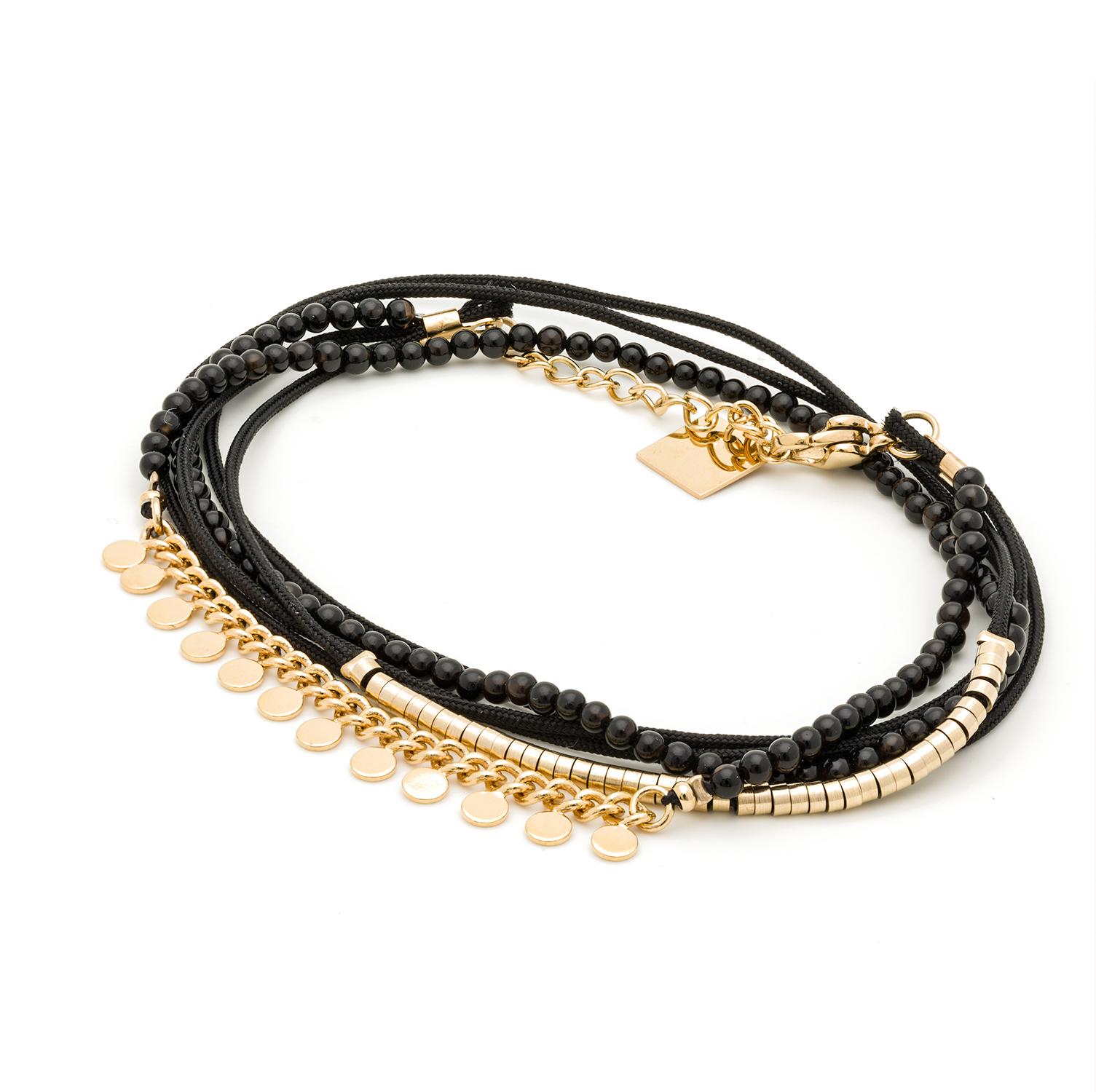 Bracelet multitours pastilles et perles (onyx)