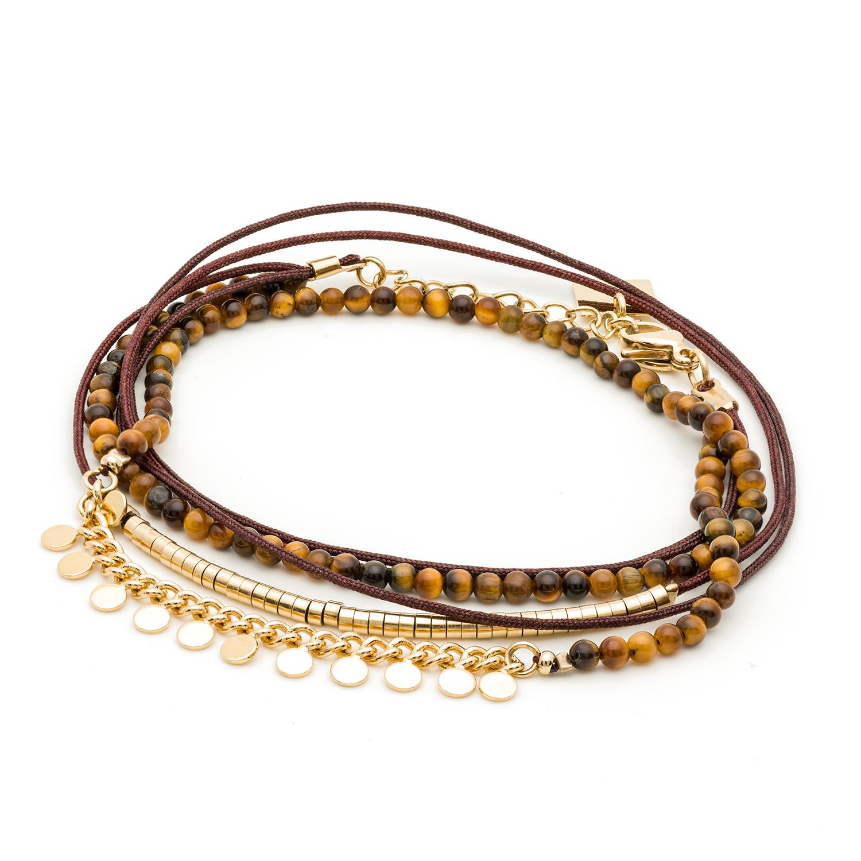 Bracelet multitours pastilles et perles (œil de tigre)