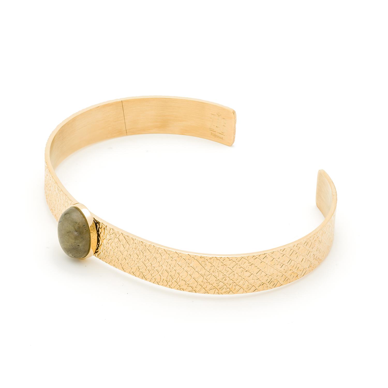Bracelet jonc pierre labradorite (doré)