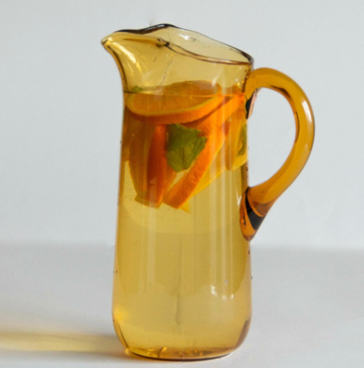 Carafe en verre jaune XXL
