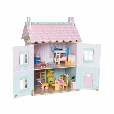 H126-Sweetheart-Cottage-Pink-White-Wooden-Dolls-House-Furniture-Open