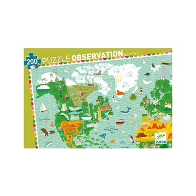 PUZZLE OBSERVATION TOUR DU MONDE 200 PIECES + LIVRET