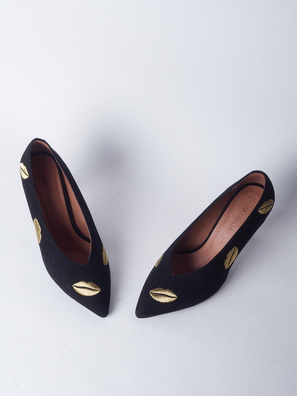 CHARONE-LIPSTICK-escarpin-velours-noir-fil-or-collection-AW1920-Kmassalia-