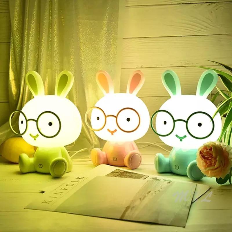 Veilleuse LED danimal de dessin anim/é mignon pour la veilleuse de chambre denfants de b/éb/é veilleuse dUSB de lumi/ère de lapin d/écorative