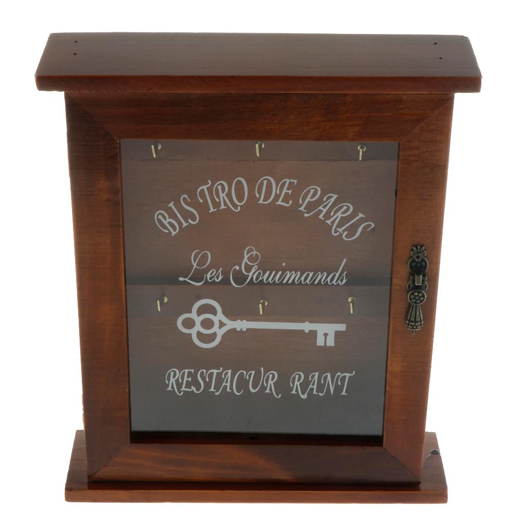 Boîte de support de clé en bois de Style européen avec 6 crochets fixés au mur